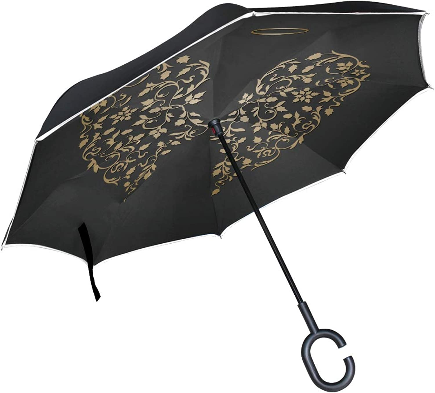 Double Layer Ingreened Angel Design Elements golden Wings Halo Umbrellas Reverse Folding Umbrella Windproof Uv Predection Big Straight Umbrella for Car Rain Outdoor with CShaped Handle