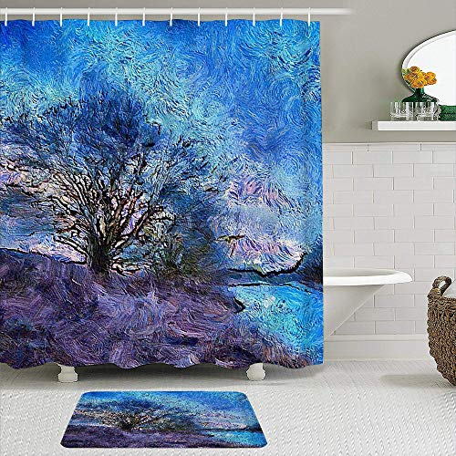 VAMIX 2 Piece Shower Curtain Set with Bath Mat,Tree Oil Painting,Polyester Fabric Waterproof Shower crutains Non-Slip Rugs Bathroom Decor Accessories with 12 Hooks Included