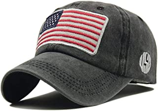 American Flag Embroidery Washed Cotton USA Flag Hats for Men Women