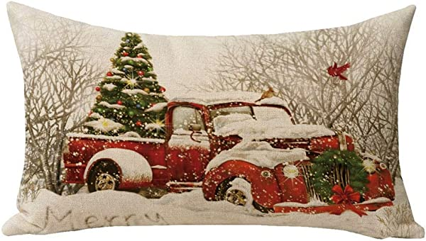 HL HLPPC Red Truck Christmas Tree Small Throw Pillow Cotton Linen Cushion 8 X 12 Inches Decorative Throw Pillow For Sofa And Bed One Side Print