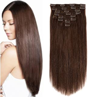 Lovbite 22Inch Clip In Human Hair Extensions 120g/4.2oz With 20Clips Brazilian Straight Human Hair Extensions Clip ins Double Weft Dark Brown Remy Thick Hair Extensions 8Pieces/Lot