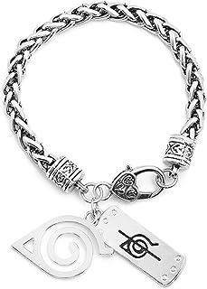 AILUOR Naruto Bracelet, Anime Naruto Konoha Bracelet Cosplay Wristband Naruto Shippuden Leaf Village Logo Leather Bracelet...