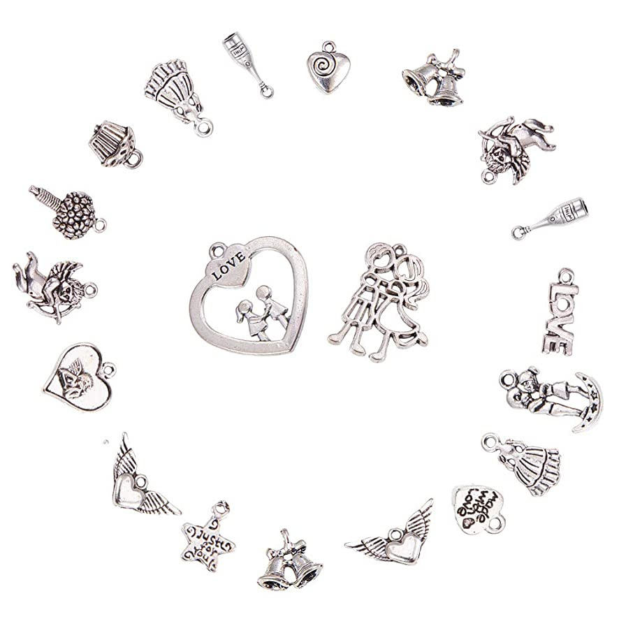 PH PandaHall 90pcs 15 Style Antique Silver Tibetan Alloy Wedding Love Heart Theme Charms Pendants Beads Charms for Valentines Day Thanksgiving Day DIY Necklace Bracelet Making