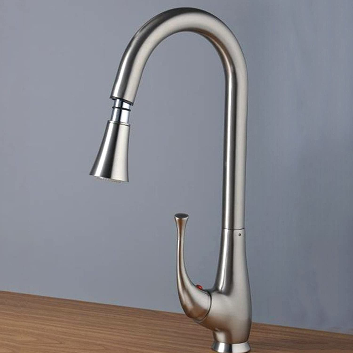 Commercial Single Lever Pull Down Kitchen Sink Faucet Brass Constructed Polished Modern Simple Copper Hot and Cold Kitchen Sink Faucet Copper Kitchen Sink Mixer