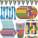 BAIBEI Party Supplies Vajilla, 62pcs Suministros De Fiesta De Cumpleaños, Platos, Tazas, Pajillas, Cucharas, Tenedores, Cuchillo, Mantel, Banners