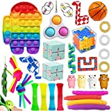 aturustex Fidget Toys Set, Sensory Toys Pack Cheap for Kids Adults, Figetget Toys with Simple Dimple Pop Bubble Infinite Cube Pop Tube Stress Ball and Anti-Anxiety Toy (35 PCS)