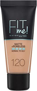 Maybelline New York Base de Maquillaje Fit Me (Mate y Sin poros), Tono 120 Classic Ivory - 30 ml