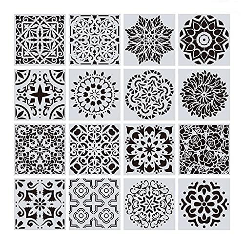 LCBYOG Plantillas De Dibujo,Plantillas De Pintura 16pcs / Set Mandala Stencils Plantilla de Dibujo de Bricolaje Pintura de Pared para baldosas de Madera Roca (Color : White)
