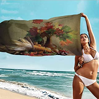 Custom Towel Soft and Comfortable Beach Towel Harvest,Photograph from Death of the Nature Season Fall Vegetables and Leafs Wooden Table,Multicolor,suitable For Home,Travel,Swimming Use 32