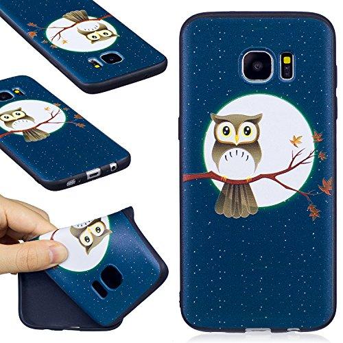 Funda Galaxy S7 Edge, WindTeco Ultra Delgado Búho Diseño Protectiva Carcasa de Silicona Gel TPU Bumper Case Cover para Samsung Galaxy S7 Edge