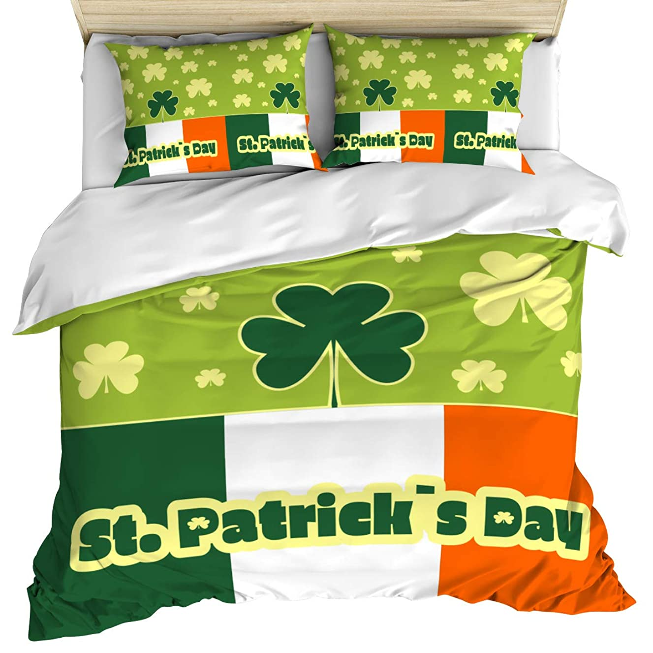 Luxury Microfiber 3 Piece Bedding Set Twin Size, Four Leaf Clover Irish Flag St Patrick's Day 3PCS Zippered Soft Duvet Cover Comforter Cover Set with Quilt Cover, Pillow Cases for Kids/Teens/Adults