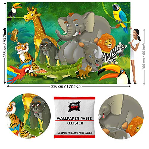 Great Art fotobehang Comic jungle dieren 336 x 238 cm - 8 Teile + Kleister Dschungel Tiere