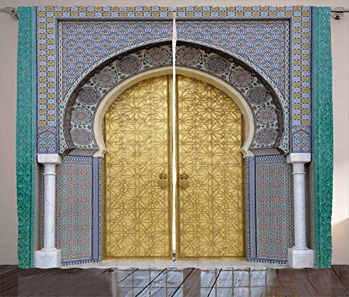 """Ambesonne Moroccan Curtains, Antique Doors Morocco Yellow Doorknob Ornamental Carved Intricate, Living Room Bedroom Window Drapes 2 Panel Set, 108"""" X 90"""", Gold Teal"""