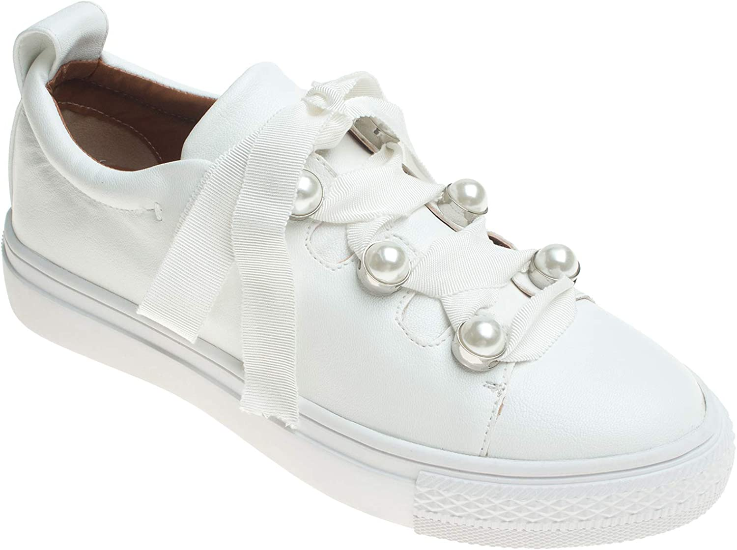 AnnaKastle Womens Pearl Lace up Low Top Sneaker Trainers White