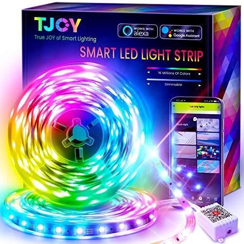 50ft Smart Led Strip Lights for Bedroom,Led Lights Alexa Compatible,Color Changing RGB 5050 Sync Music Led Light...