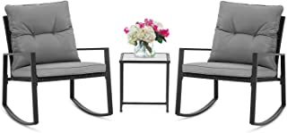SUNCROWN Outdoor 3-Piece Rocking Bistro Set: Black Wicker Furniture Two Chairs and Glass..