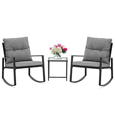 SUNCROWN Outdoor 3-Piece Rocking Bistro Set: Black Wicker Furniture-Two Chairs with Glass Coffee Table (Grey Cushion)