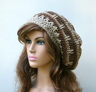 409c4a87 Handmade Brown tan slouchy beanie, smaller dread tam, beret hat, men hat,