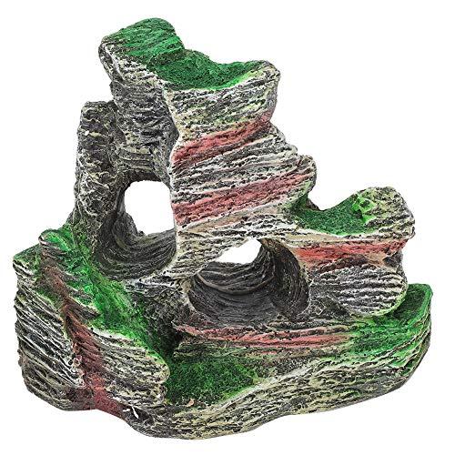 Felenny Acuario Montaña Vista Piedra Ornamento Artificial Vista del Paisaje Pecera Decoración de La Montaña Paisaje Rocoso Roca Escondite Cueva