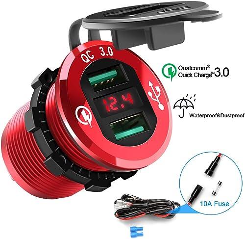 Rocketek Quick Charge 3.0 Chargeur USB, Double Prise de Courant USB Adaptateur Allume-Cigarette étanche Charge Rapide...