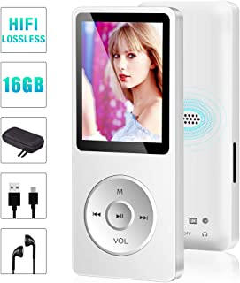 MP3 Player, 16GB Music Player with FM Radio, Voice Recording, E-Book, Game, Video Player, Portable Hi-Fi Lossless Sound Built-in Speaker MP3 Music Player, Support up to 128GB -White(Include Earphones)