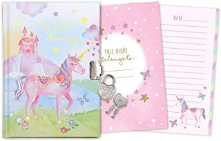 Jewelkeeper Rainbow Unicorn Secret Diary, Heart Shaped Lock and Key, Private Journal