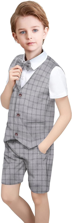 Boys Suit Set Vest +Short Very popular Pants + Tie Outlet sale feature Pieces 4 Shirt Bow Boy C