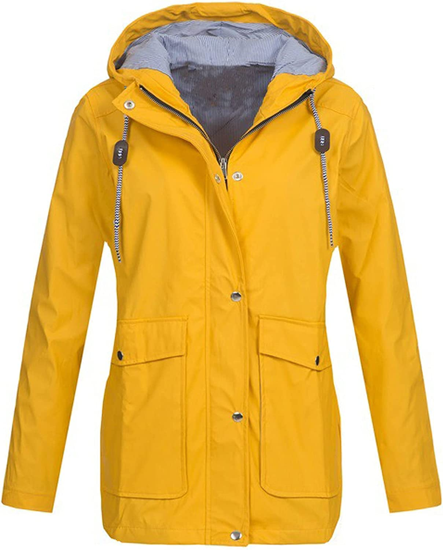 Waterproof Jackets Women Mac Coat Long Sleeve Hooded Winter Warm Outerwear
