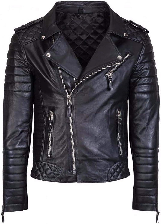 BTFashion Women's Black Biker Slim Fit Motorcycle Real Sheepskin Leather Jacket
