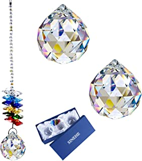 SINEHE 40mm Crystal Ball Prisms Rainbow Maker Suncatchers 30mm Glass Prism Hanging Crystals Sun Catcher Windows Clear/Set ...