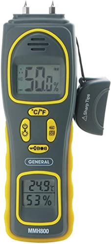 General Tools MMH800 4-In-1 Combo Moisture Meter, Pin Type or Pinless, Temperature and Humidity, Dual LCD Displays, A...