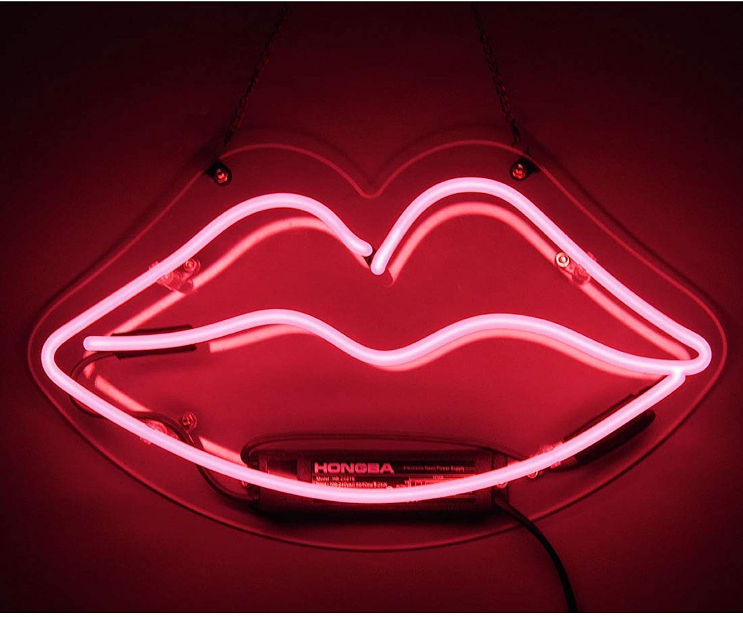Neon Sign Lip Shaped Pink Neon Light Neon Bar Signs for Girls Bedroom Dresser Lipstick Store Christmas Party Wall Decorative Night Light 13.4 x 7.5 Inch
