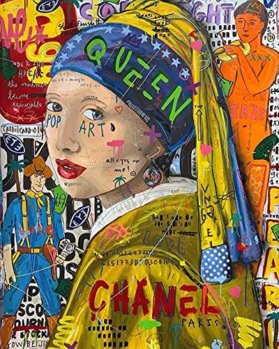 Aawerzhonda Póster de Lienzo Graffiti Wall Art Girl con Pendientes de Perlas Famoso Cartel de Arte Callejero e impresión de imágenes artísticas de Pared para la decoración del hogar 60x90cm