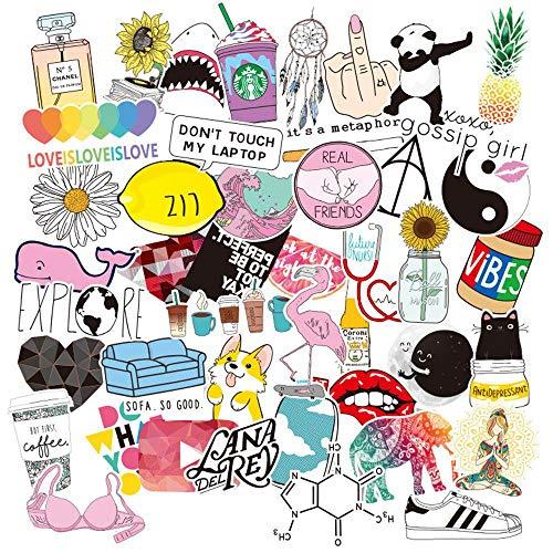 Aufkleber für Wasserflaschen, trendig, niedlich, wasserfest, ästhetisch, Vinyl, Graffiti-Aufkleber – Laptop- und Wasserflaschen-Aufkleber für Mädchen, Teenager, Damen 46 Stück