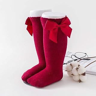 ROUNDER, Calcetines de 1-3 años con Lazos hasta la Rodilla Calcetines de Princesa para niña Lindo calcetín de algodón para bebé Calcetines Largos con Lazo para niños