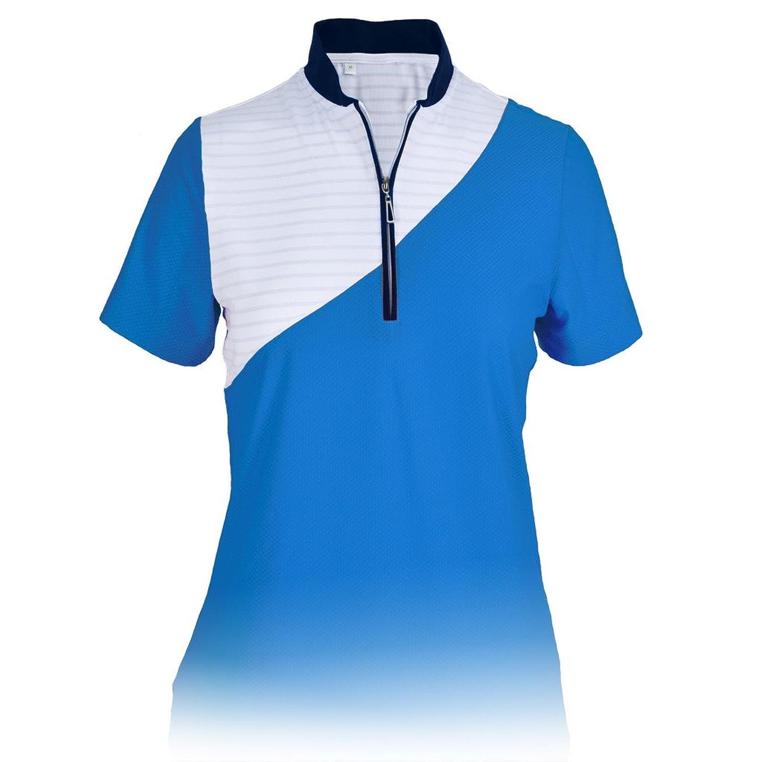 Monterey Club Ladies Dry Swing Shiner Stripe Colorblock Texture Cap Sleeve Shirt #2342