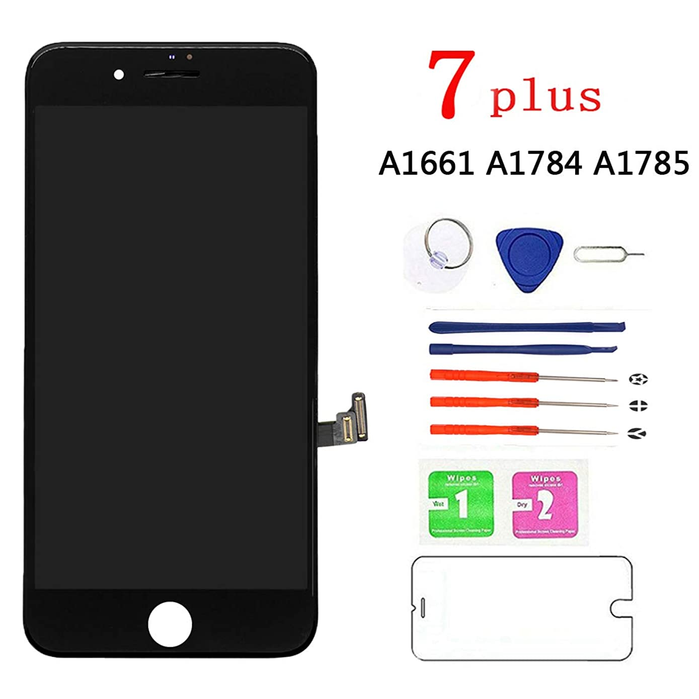 Screen Replacement for iPhone7 Plus Black, LCD Display and Touch Screen Digitizer Replacement with Repair Tools and Screen Protector with A1661 A1784 A1785 All Version