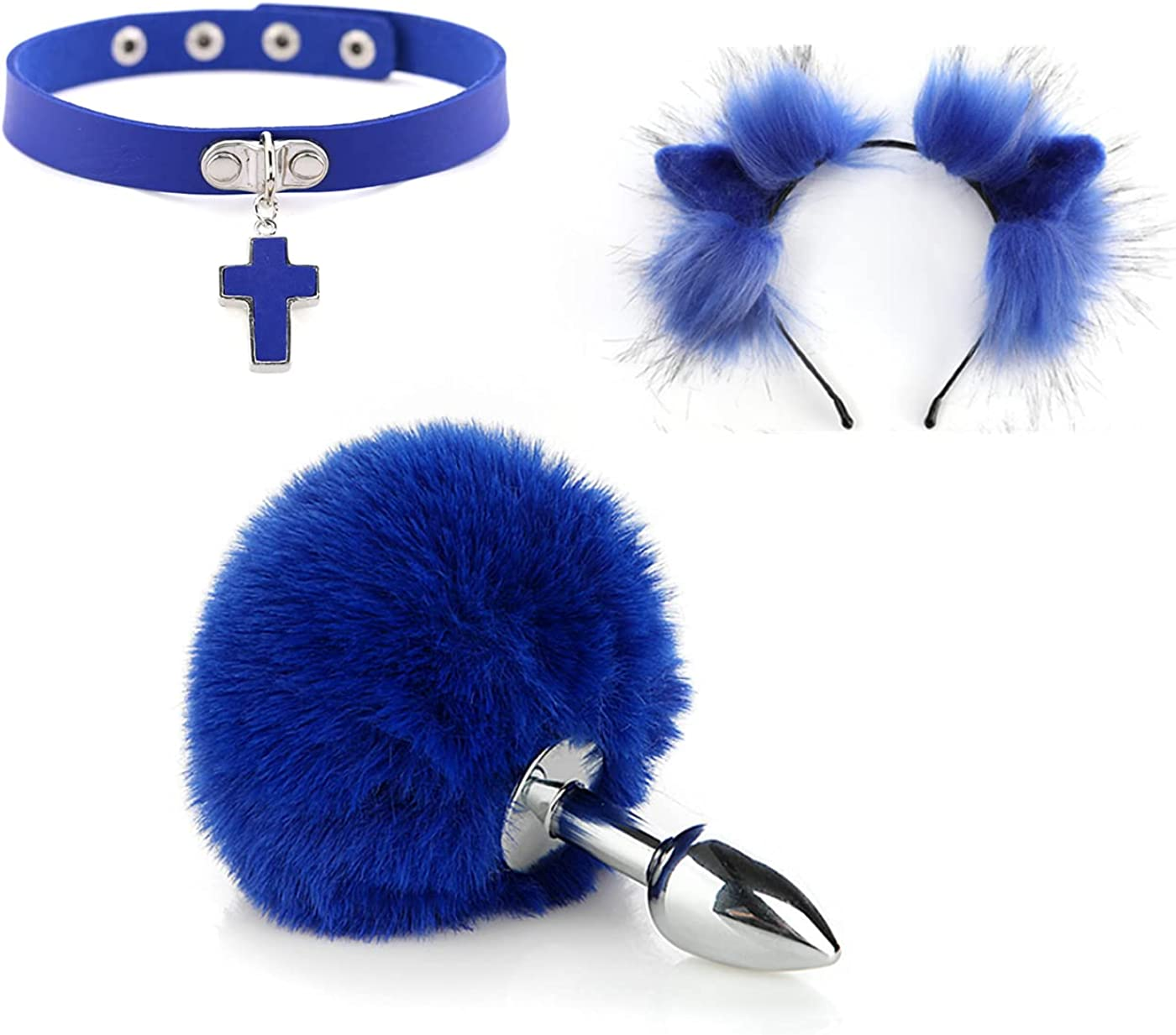 Blue Fluffy Tail ???? Anal plug Headband with Outlet sale feature NEW before selling Plush Cat Ears Pun