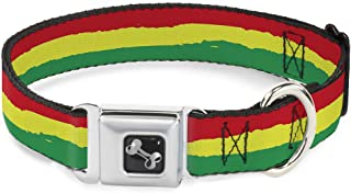 "buckle-down Rasta Dog عظمة الترقوة, 1"" Wide - Fits 15-26"" Neck - Large, Rasta Stripes Painted Green/Yellow/Red"