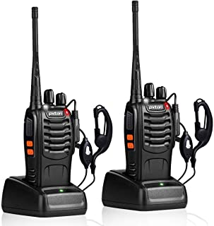 pxton Walkie Talkies Rechargeable Long Range Two-Way Radios with Earpieces,2-Way Radios UHF Handheld Transceiver Walky Talky with Flashlight Li-ion Battery and Charger(2 Pack)