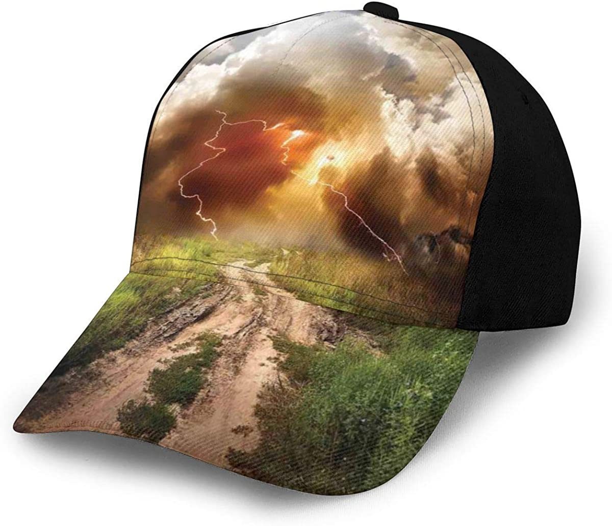 Unisex Classic 3D Baseball Cap Trucker Hat Dazzling Big Rain Cloud Over Earth Path Road Countryside Field Climate Energy Image