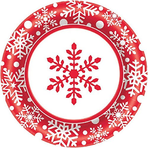 Red Snowflake Christmas Paper Party Plates