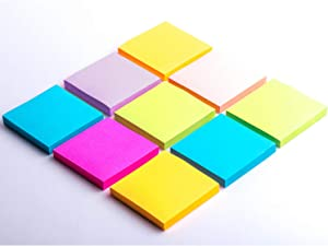 Sticky Notes 3x3 Self-Stick Notes 6 Bright Multi Colors Purple Sticky Notes 6 Pads 100 Sheet/Pad (6)