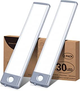 Led Under Cabinet Lighting Motion Sensor Wireless Rechargeable Cabinet Lights, Ultra Thin 30Led Battery Operated Closet Li...