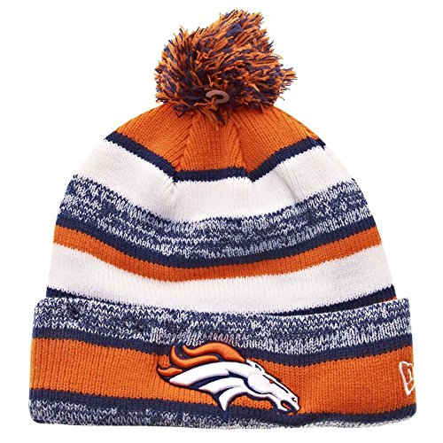 New Era Denver Broncos 2014 On Field Sport Cuffed Pom Knit Beanie Hat/Cap