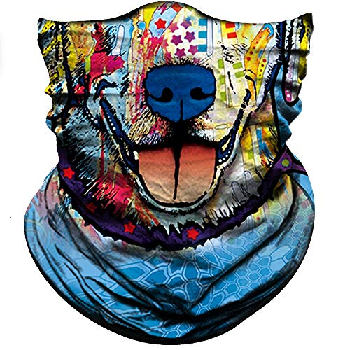 Obacle Animal Half Face Mask Sun Dust Wind Protection Durable Breathable Seamless Face Mask for Men Women, Lightweight Thin Neck Gaiter for Outdoor Sports Gifts (Dog Graffiti Blue)