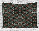 BONRI Étnico, el Tapiz, la Frontera de Antigüedades de Diseño de Patrón de Mosaico de Impresión, Distintos de la Pared Colgante para el Dormitorio Salón Dormitorio, Coral Negro,40'x60'