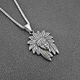 N/A Necklace European And American Punk Retro Titanium Steel Polished Indian Chief Pendant Necklace Valentine'S Day