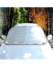 Jieser 車フロントガラスカバー カーフロントカバー 防水 防風 日よけ 防風ロープ 内臓磁石五枚 盗難防止挟み耳 収納袋付き 四季対応 普通車 軽自動車 SUVに適用 147x116cm