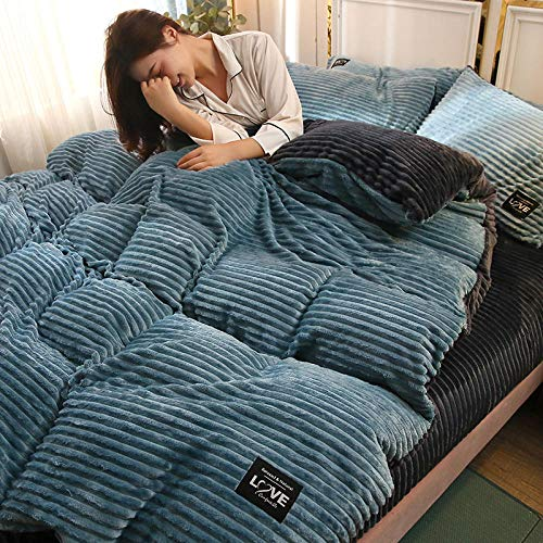 Shinon teddy fleece bedding single blue,Reversible Teddy Fleece Duvet Cover with Pillow Case Supersoft Fluffy Thermal Warm Soft Bear Bedding Set-A_1.8m bed (4 pieces)